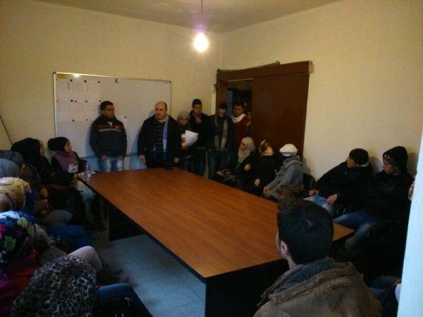 اللقاء مع الشباب في مقر جمعية التنمية في عكار